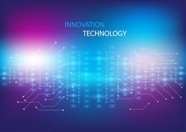 回路設計と光の効果の概念の背景を持つ抽象的な技術革新と技術の概念。 Premiumベクター