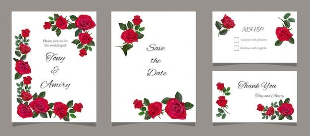 赤いバラとグリーティングカード Premiumベクター