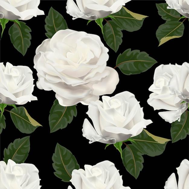 ホワイトローズのシームレスパターン Premiumベクター