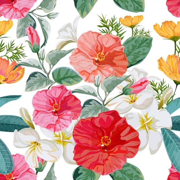 シームレスパターンの花のベクトル図 Premiumベクター