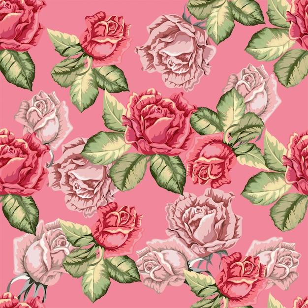 レトロなスタイルのバラのシームレスパターン Premiumベクター