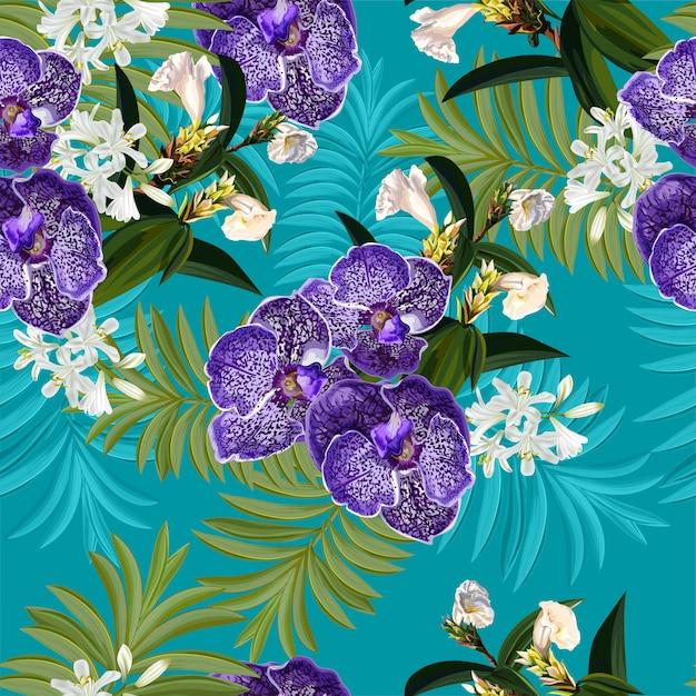 熱帯の花とのシームレスなパターン Premiumベクター