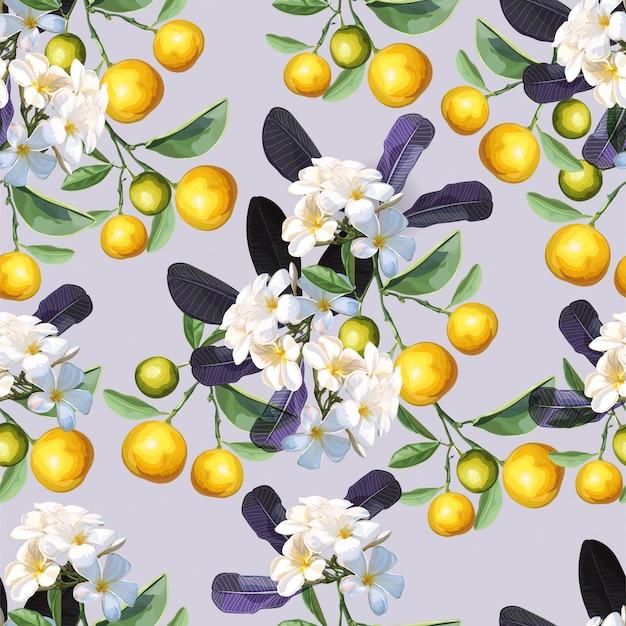 オレンジとプルメリアの花のシームレスパターン Premiumベクター