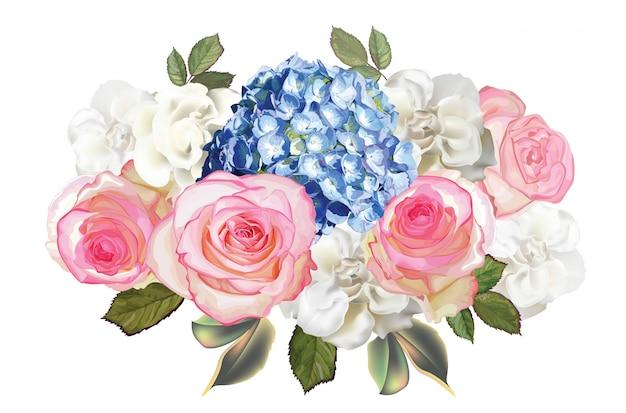 Розовые розы, гортензия и цветок бегонии Premium векторы
