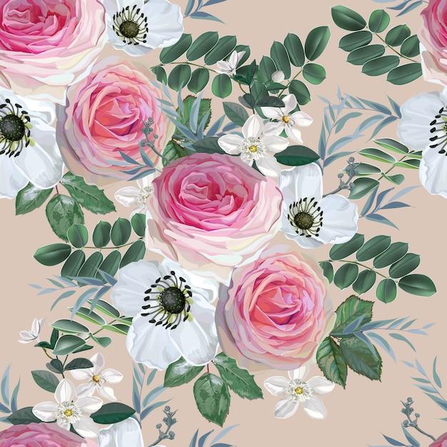 Букет цветов с розовой розой и белыми цветами с листьями Premium векторы