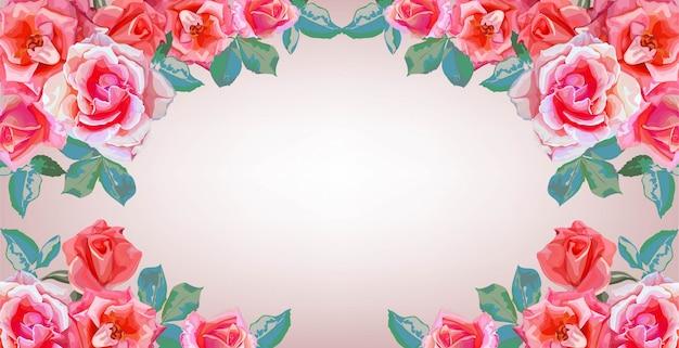 バラの花の花束フレームのバナー Premiumベクター