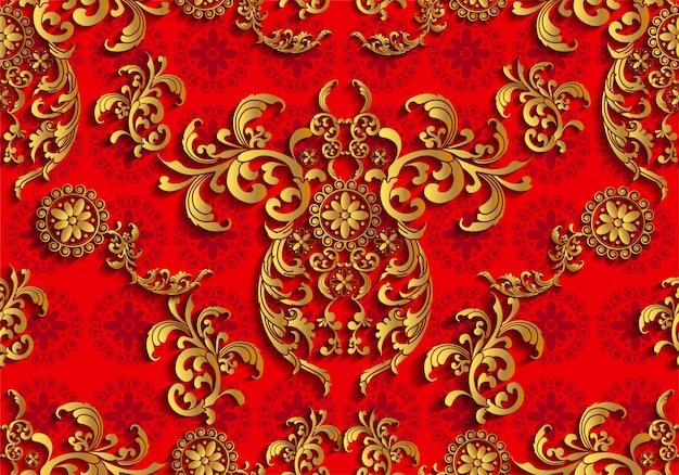 アジアのタイの伝統芸術デザインのシームレスパターン Premiumベクター