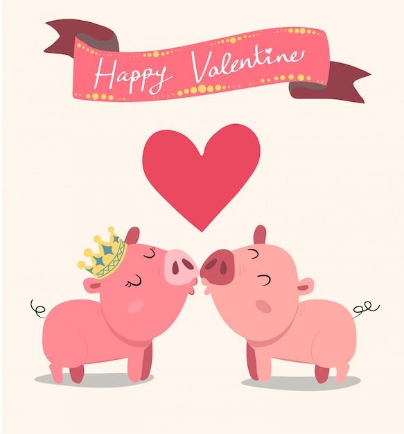 Милая пара розовых свиней целуется Premium векторы