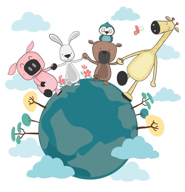 地球上を保持していると歩いて幸せな動物のグループ Premiumベクター