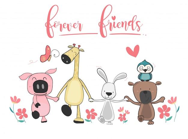 Счастливый милый друг животных, держа руку и ходить вместе Premium векторы