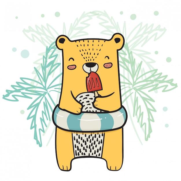 夏のイチゴアイスキャンデーアイスクリームを持つライフリングとかわいい黄色いクマを描画 Premiumベクター