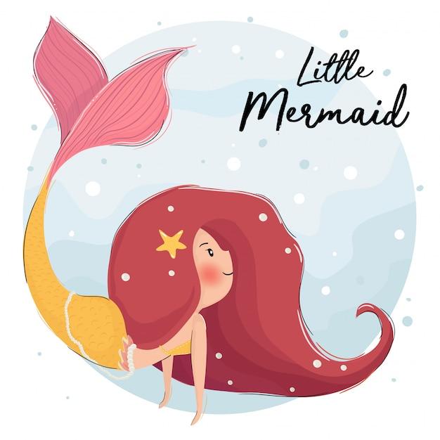 海の下のかわいい赤い髪の人魚 Premiumベクター