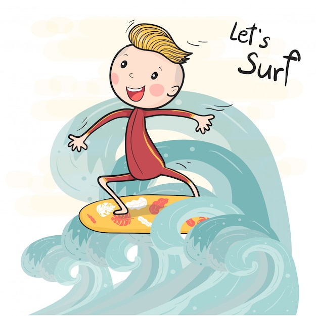 Милый рисунок серфинга мальчик на доске для серфинга, плавающей на большой волне Premium векторы