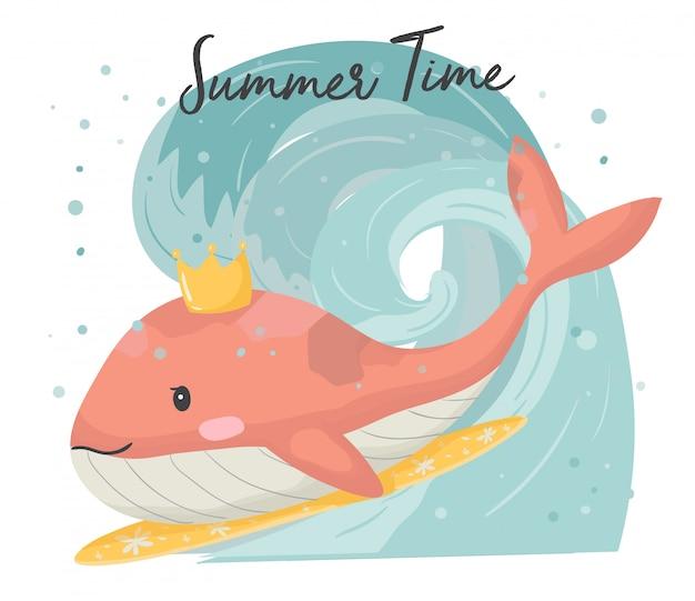大きな波の手でサーフィン、サーフボードにかわいいピンククジラフラットベクトルを描画 Premiumベクター