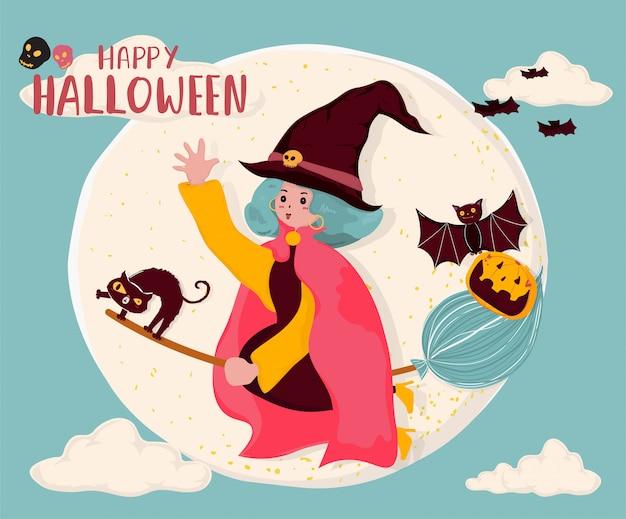 かわいいフラットベクトル魔女がほうきに乗る、猫とコウモリと満月の上を飛んで、コピーテキスト、メモ、バナー、印刷可能な背景のスペース Premiumベクター