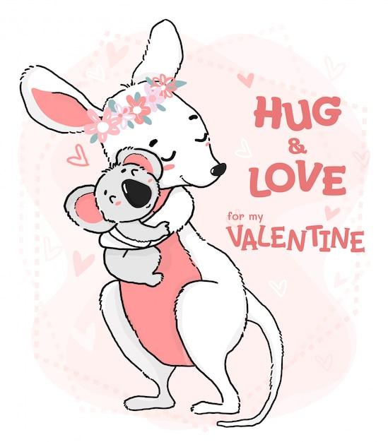 かわいい輪郭描画コアラの抱擁と愛のカンガルーグリーティングカード Premiumベクター