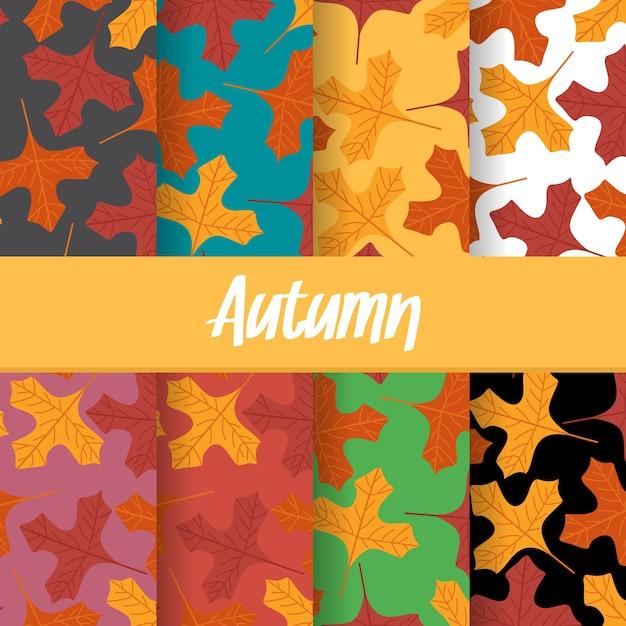 秋の設定された背景がシームレスなパターンを残す Premiumベクター