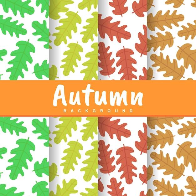秋のシーズンの背景を設定シームレスなパターンを残す Premiumベクター