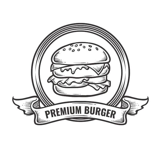 ビンテージバーガーロゴ Premiumベクター