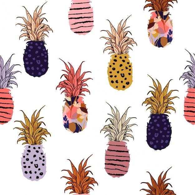 手描きのパイナップル塗りつぶしを手描きの線パターンで描いた Premiumベクター