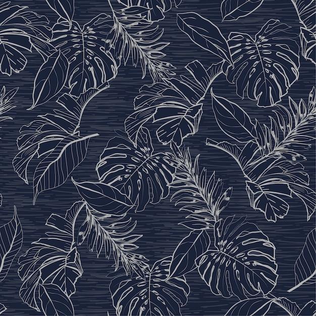 モノトーンブルー花と熱帯の葉シームレスなパターン Premiumベクター
