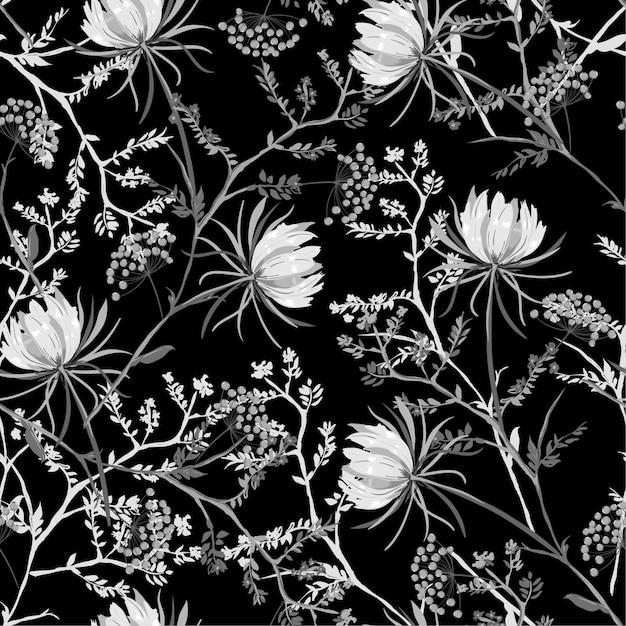 白と黒の東洋のシームレスなパターンの咲く花 Premiumベクター