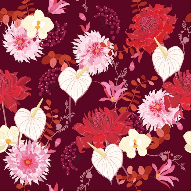 繊細な花柄]植物モチーフシームレスなベクトル Premiumベクター