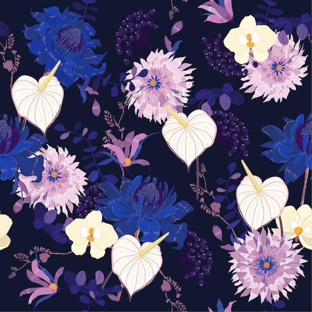 夜の植物の花の多くの種類の花のパターン Premiumベクター