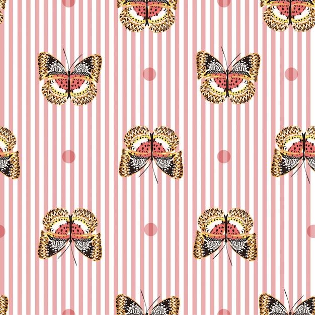 白いストライプの甘いピンクの蝶でシームレスなパターン Premiumベクター