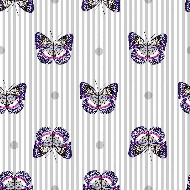 明るい灰色の蝶で美しいシームレスなパターン Premiumベクター
