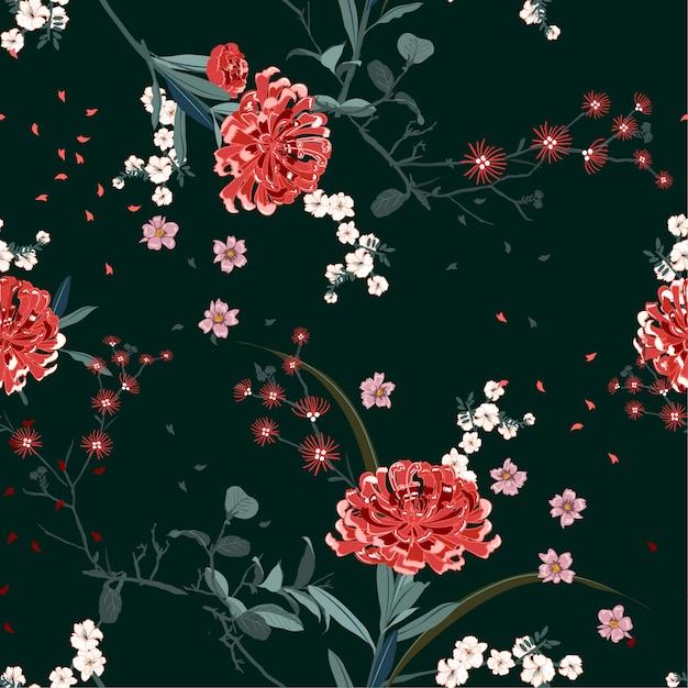 咲く植物と桜の花の花柄とオリエンタルガーデン Premiumベクター