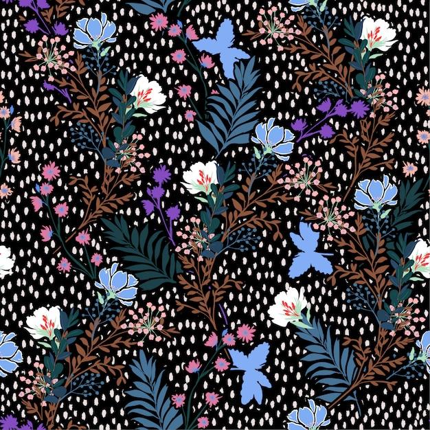 トレンディなシームレスパターン手のベクトルイラストには、草原の花と葉が描かれています。 Premiumベクター