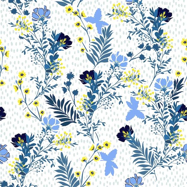 シームレスなベクトルパターン手のベクトルイラストには、青と黄色の牧草地の花と葉が描かれています。 Premiumベクター
