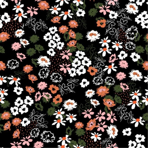 小規模の花で美しいカラフルな花模様。リバティスタイル。花のシームレスな背景 Premiumベクター