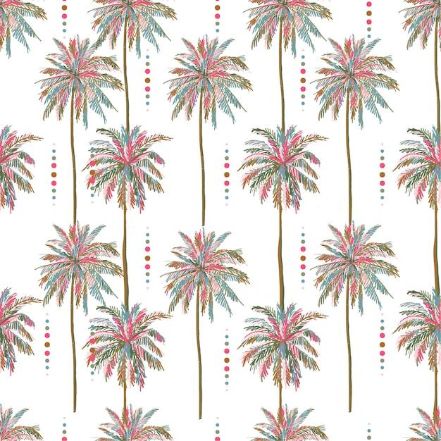美しいシームレスなベクトル夏のカラフルなヤシの木の模様 Premiumベクター