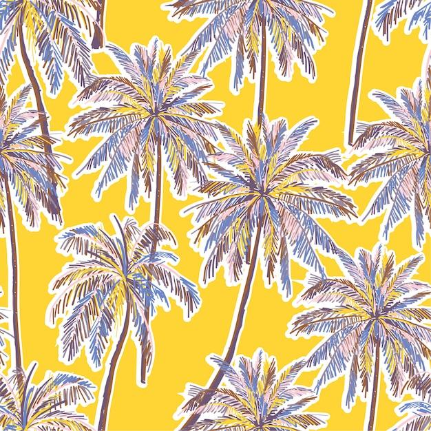 Яркие летние бесшовные красочные пальмы узор на ярко-желтом фоне. Premium векторы