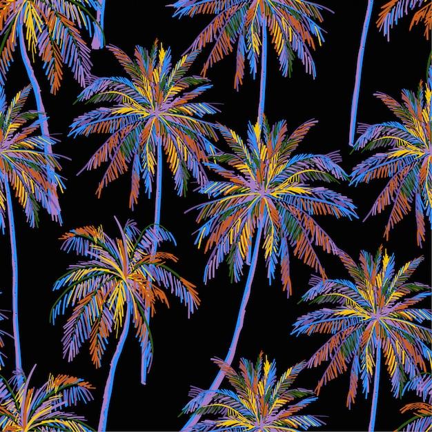 Красивый бесшовный островной образец на черном фоне. пейзаж с красочным неоновым цветом пальмы Premium векторы