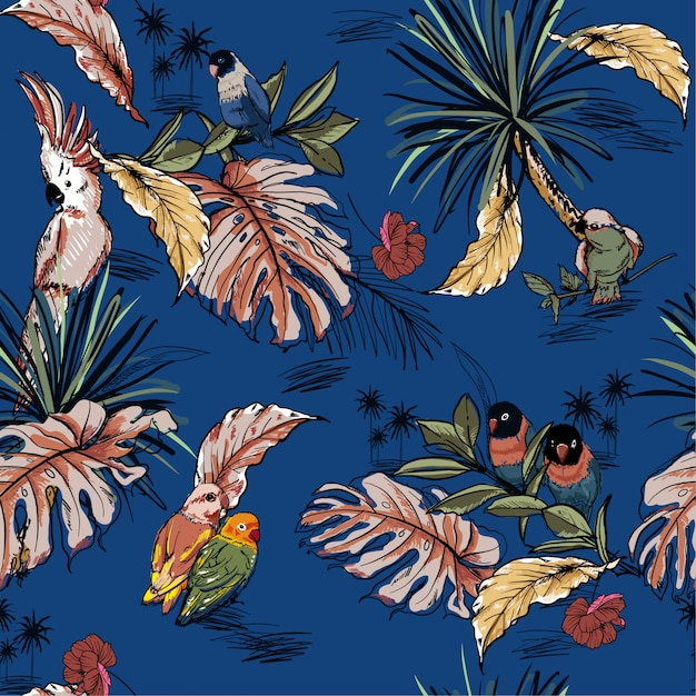 熱帯野生の森林と手描き下ろしシームレスパターン Premiumベクター