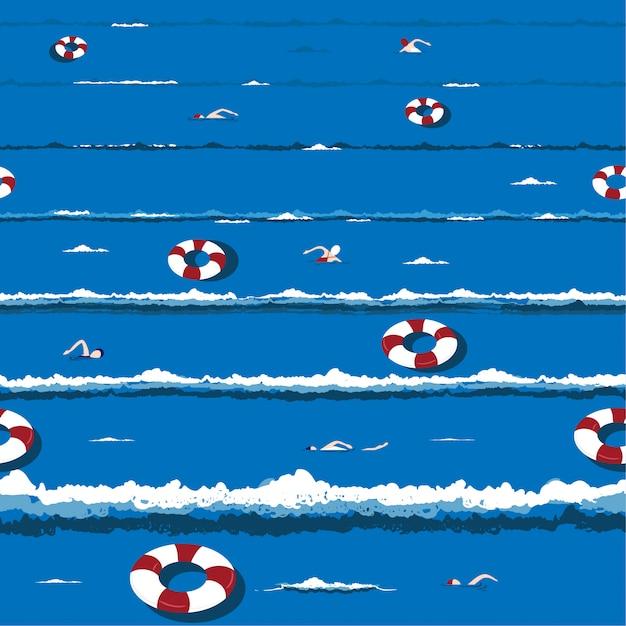 Модный и свежий летний океан волна с расслабляющим плаванием, спасательный круг настроение отдыха в руки обращается вектор бесшовные шаблон дизайна Premium векторы