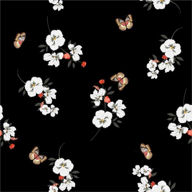ファッション、布、壁紙およびすべての版画のためのベクトルデザインの蝶柔らかいと穏やかなシームレスパターンを持つ美しいダークガーデンホワイトパンジー花 Premiumベクター
