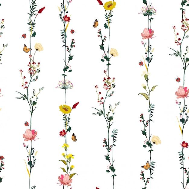 Полоса вертикальный ряд садовый цветок ботанический бесшовные модели в вектор стильный дизайн иллюстрации для моды, ткани, полотна, обоев и всех принтов Premium векторы