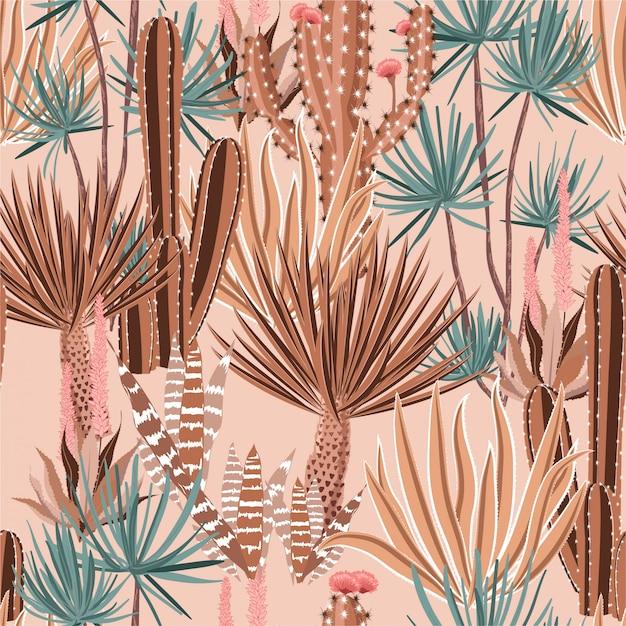 甘いパステルサボテンの植物と花のシームレスなパターン。 Premiumベクター
