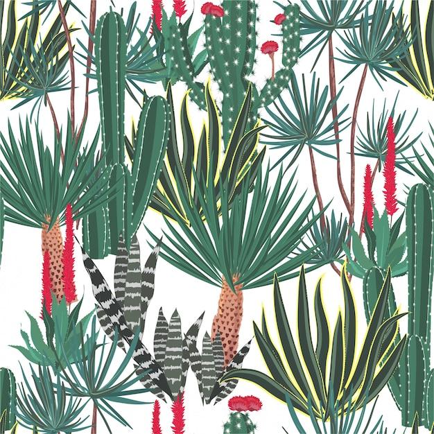 美しい手描きの咲くサボテン、サボテン、多肉植物のパターン Premiumベクター