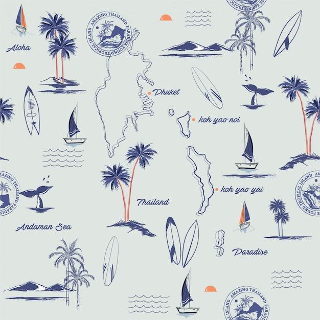 島のシームレスなパターン。 Premiumベクター