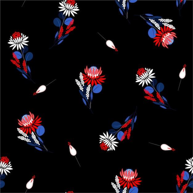 咲く抽象的なシームレスパターンプロテア花柄と植物。装飾的なデザイン要素ファッション生地、壁紙のランダムな繰り返しデザイン Premiumベクター