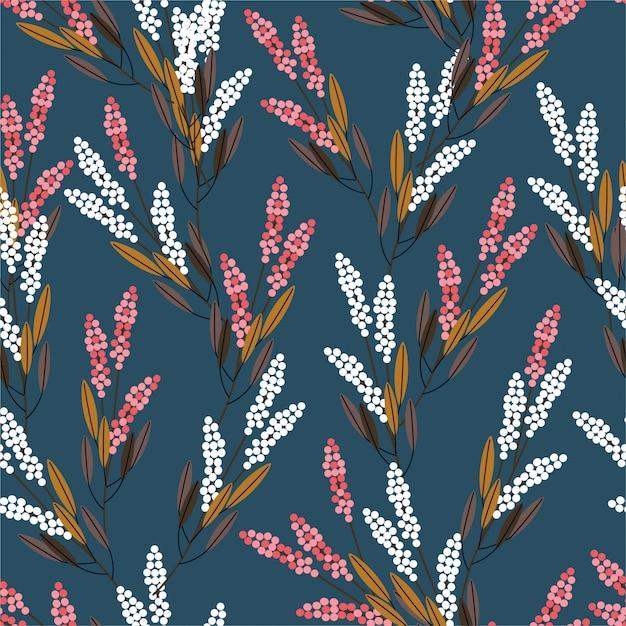 Луговые цветы бесшовные модели дизайн в современном стиле для моды, ткани, принты, обои и все принты Premium векторы