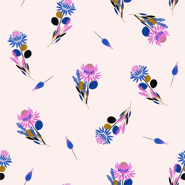トレンディなプロテア花のシームレスなパターンの花柄と植物。装飾的なデザイン要素ファッション生地、壁紙、すべての版画のためのランダムな繰り返しデザイン Premiumベクター