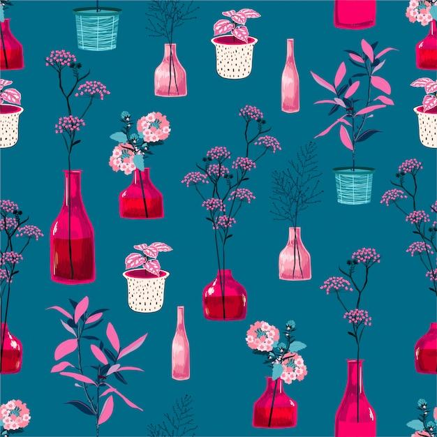 モダンな花と新鮮なピンクの花瓶、ファッション、布、壁紙、すべての版画のためのシームレスなパターン設計の植物植物図と鍋のスタイリッシュでハイコントラスト Premiumベクター