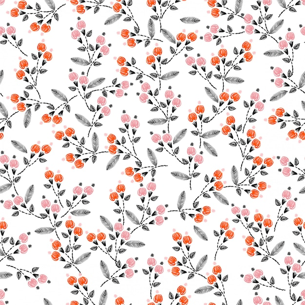手ステッチ刺繍自由の小さな花装飾ベクトル図とのシームレスなパターン。手描きの要素。家の装飾、ファッション、布、包装、壁紙のデザイン Premiumベクター