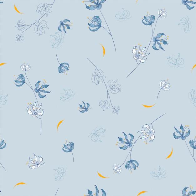Цветение цветочный узор в цветущих растительных мотивах разбросан случайным образом. бесшовная текстура Premium векторы